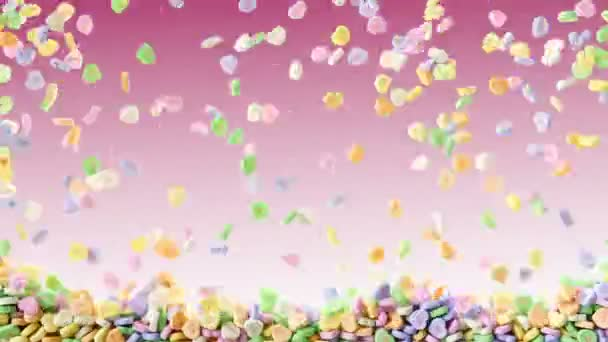 Colorful sweet hearts candies falling pink background texture pattern. Multicolored valentines conversation hearts drops pastel colors pouring down