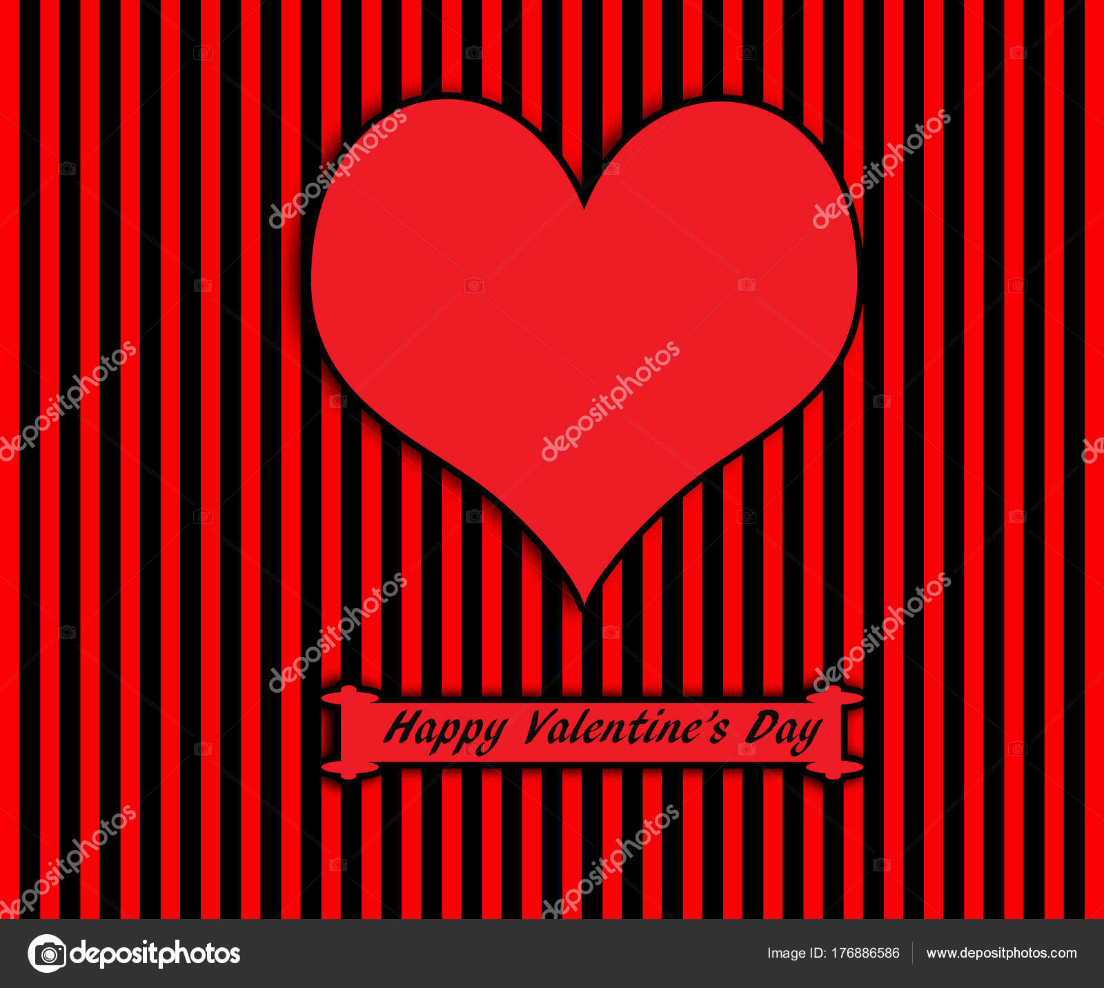 Day Lovers Greeting Card Heart Striped Background Stock Photo