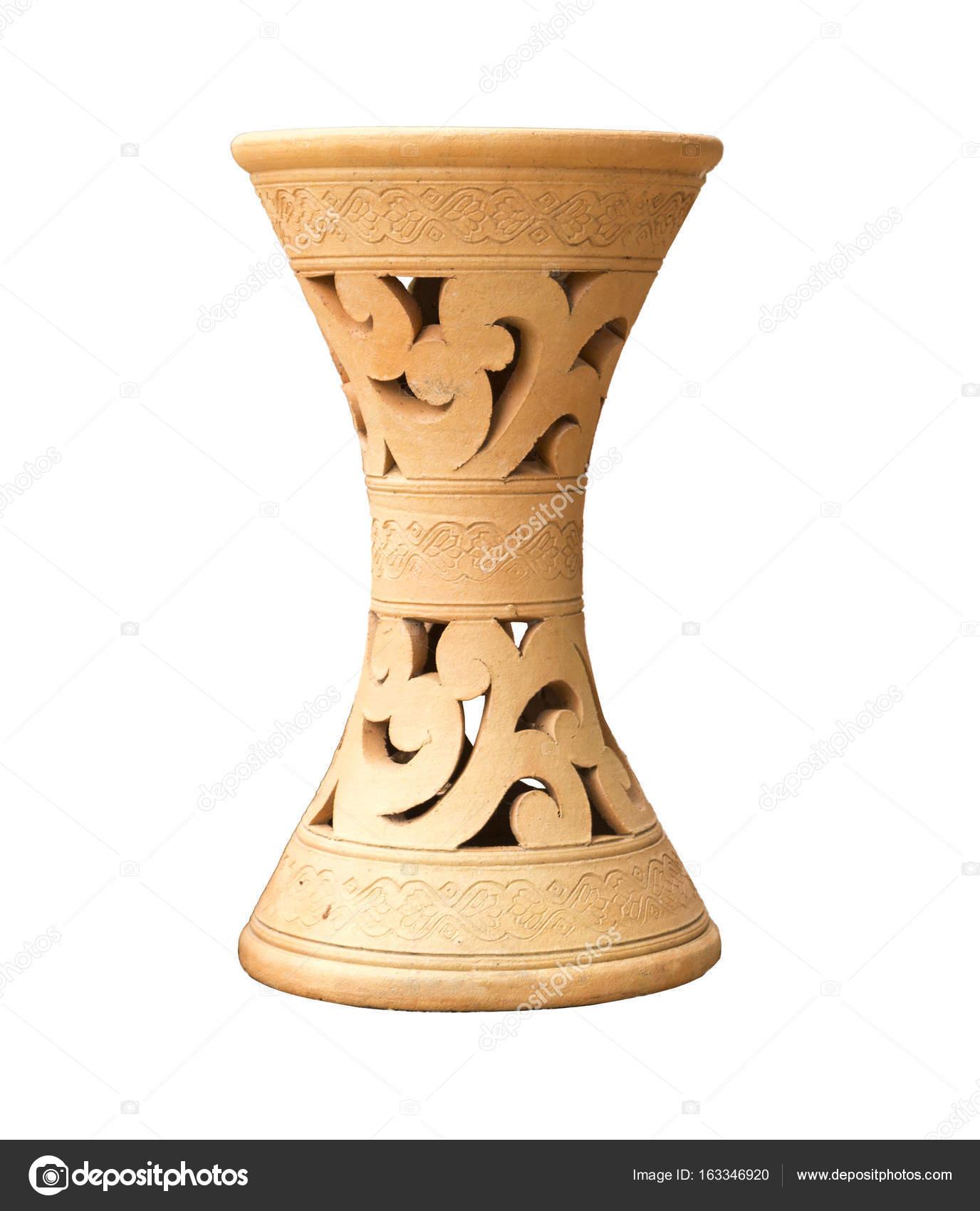 250 & Clay flower vase isolated white background. \u2014 Stock Photo © Lecneo ...