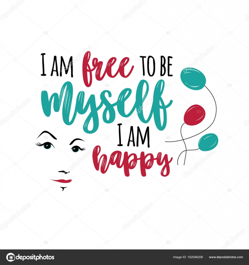 motivation beautiful print for t shirt poster with lettering i am free to by