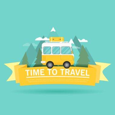 retro bus travel banner