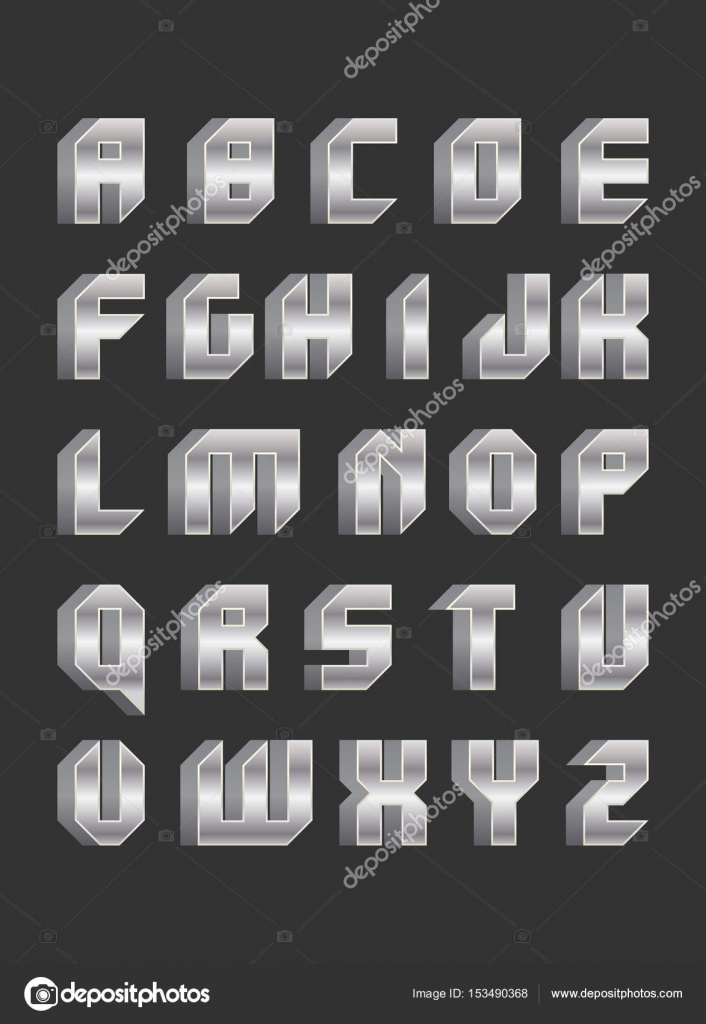 Robotic Font In Flat Style Stock Vector C Mix3r 153490368
