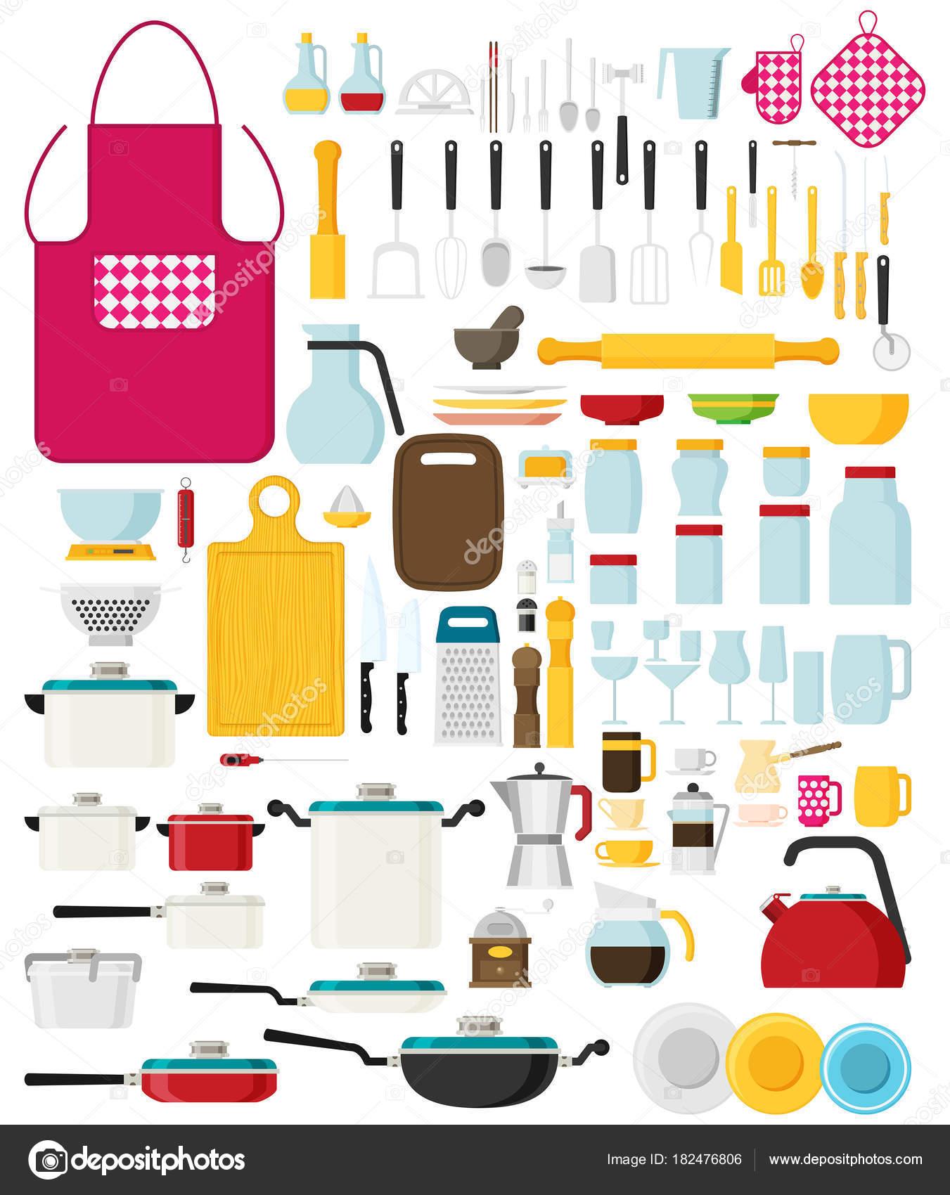Küchengeräte Set Flach Vektor Geschirr Kochgeschirr Küche Werkzeuge ...