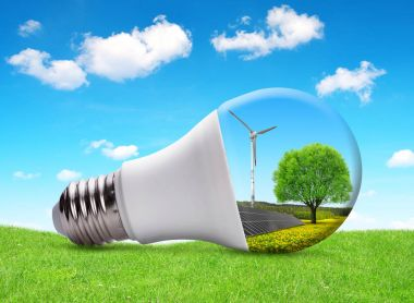 Eco LED bulb with solar panel and wind turbine.