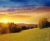 Pohled na hory Grosser Osser v národním parku Šumava, Česká republika