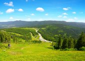 Letní krajina v národním parku Bayerische Wald, Německo