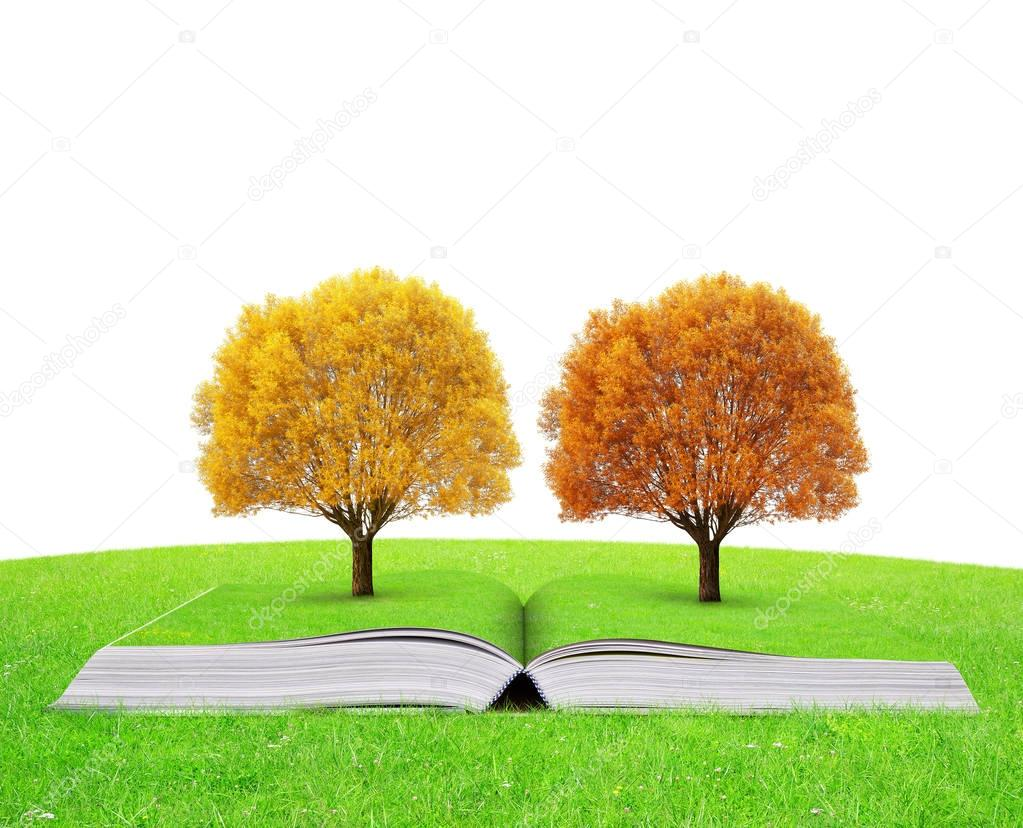 Book of nature with colorful autumn trees.
