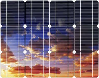 Sunset sky reflexion on the solar energy panel.