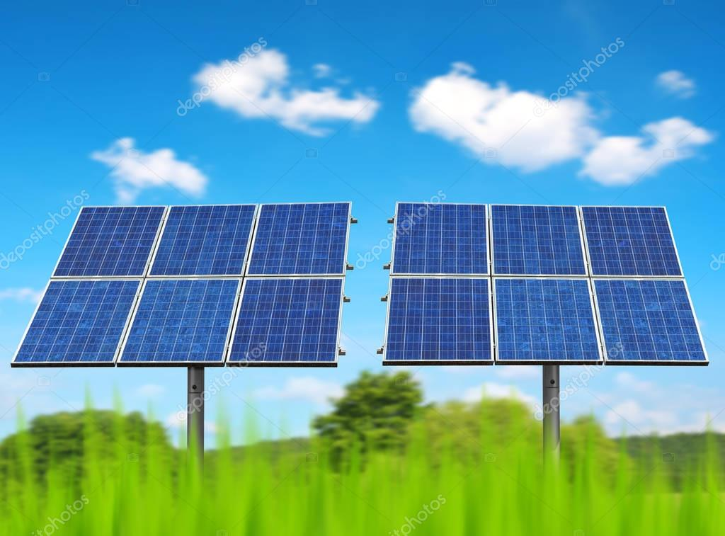 Solar panels on the meadow.