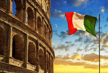 Italian flag with Flavian Amphitheatre or Colosseum at sunset.