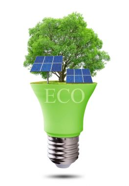 Eco LED light bulb with solar panels isolated on white background.