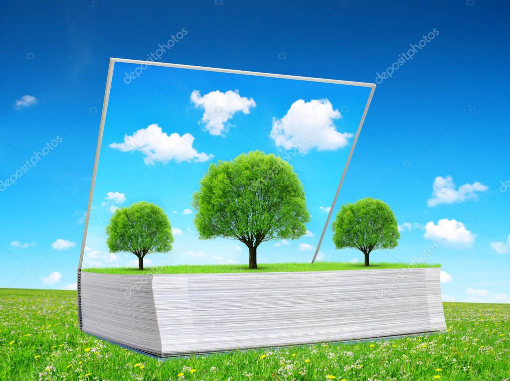 Open book of nature with trees on meadow. Ecological concept.