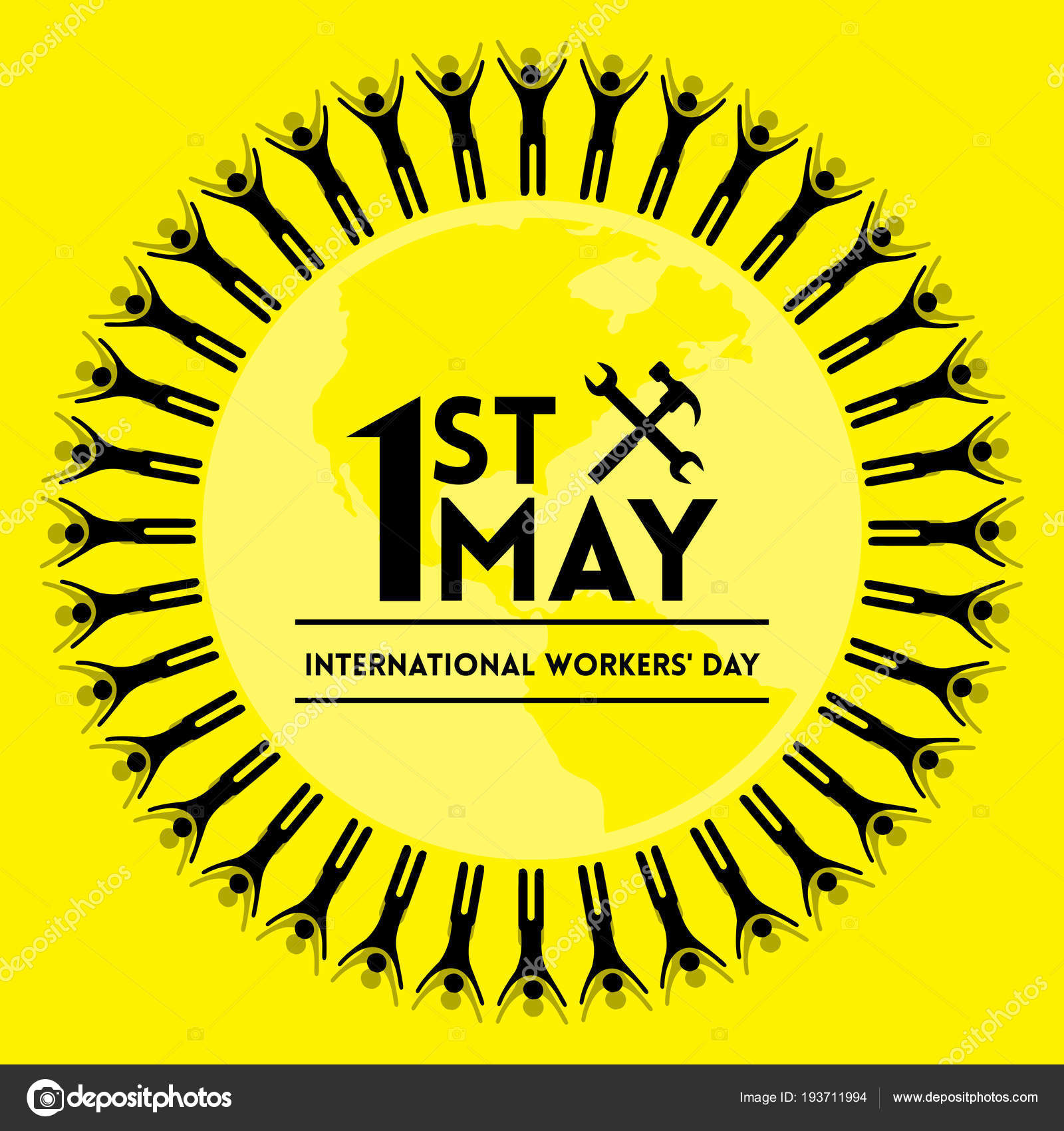 Banner 1st May Labour Day Circle Made People Lettering Hammer