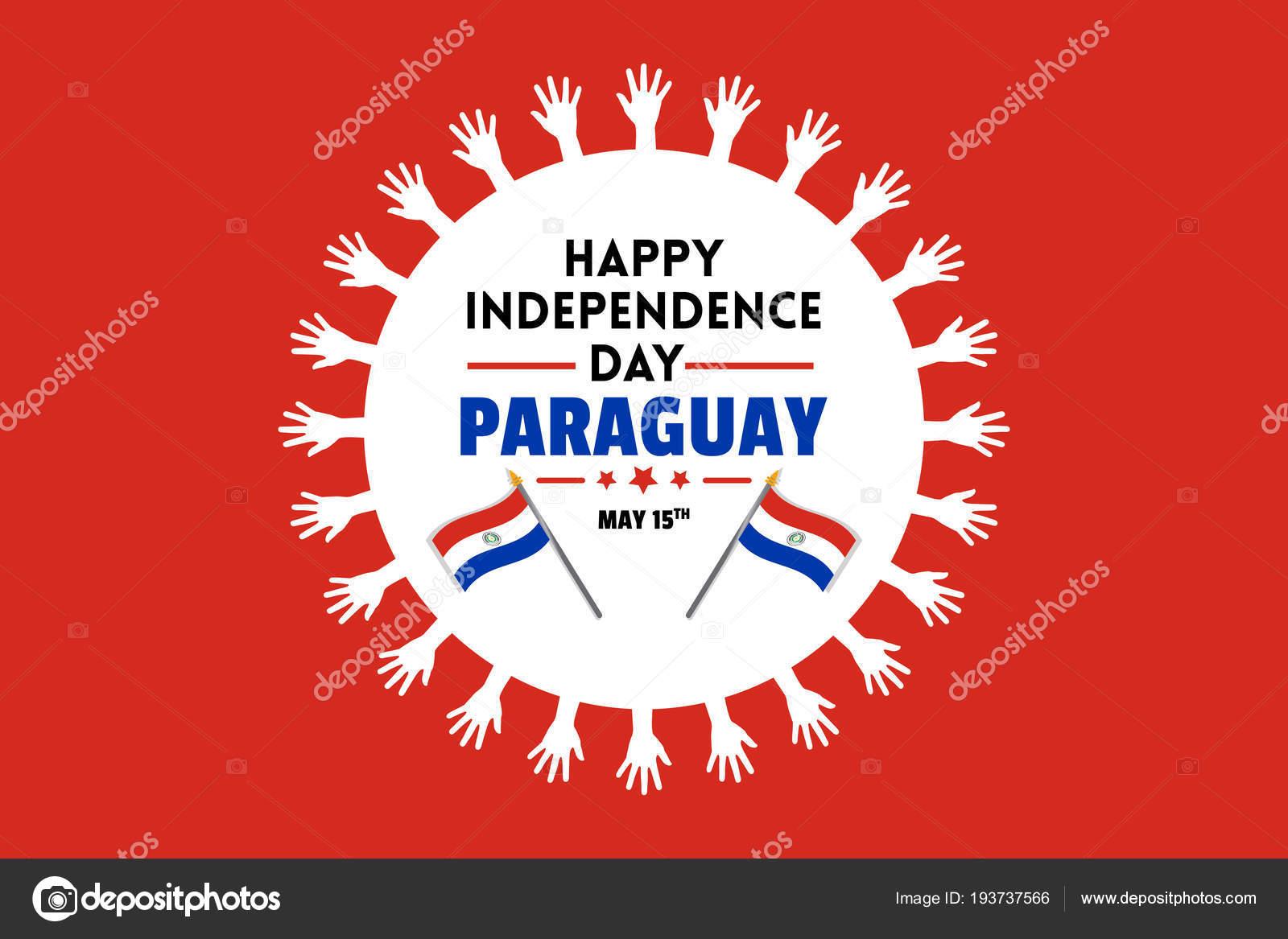 Plakat Dzień Niepodległości Paragwaju Białe Słońce Składa