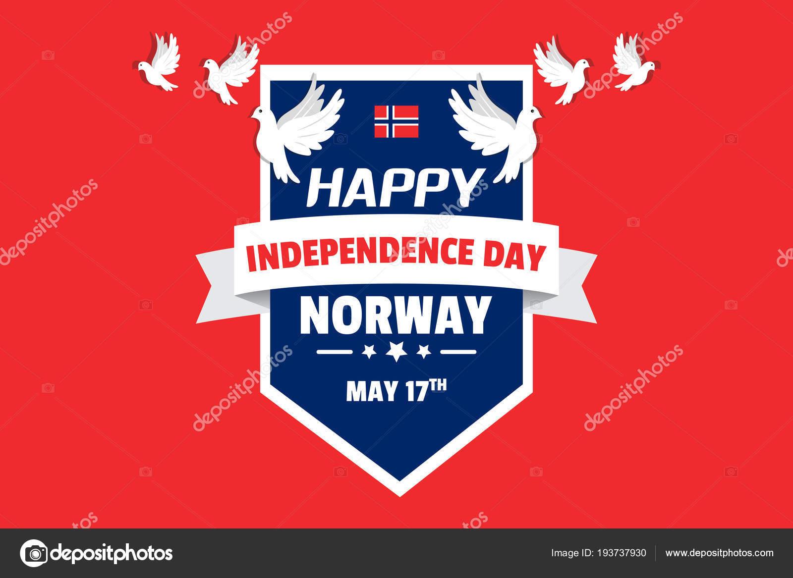 Disegno Giorno Indipendenza Norvegia Con Lettering Volo Colombe
