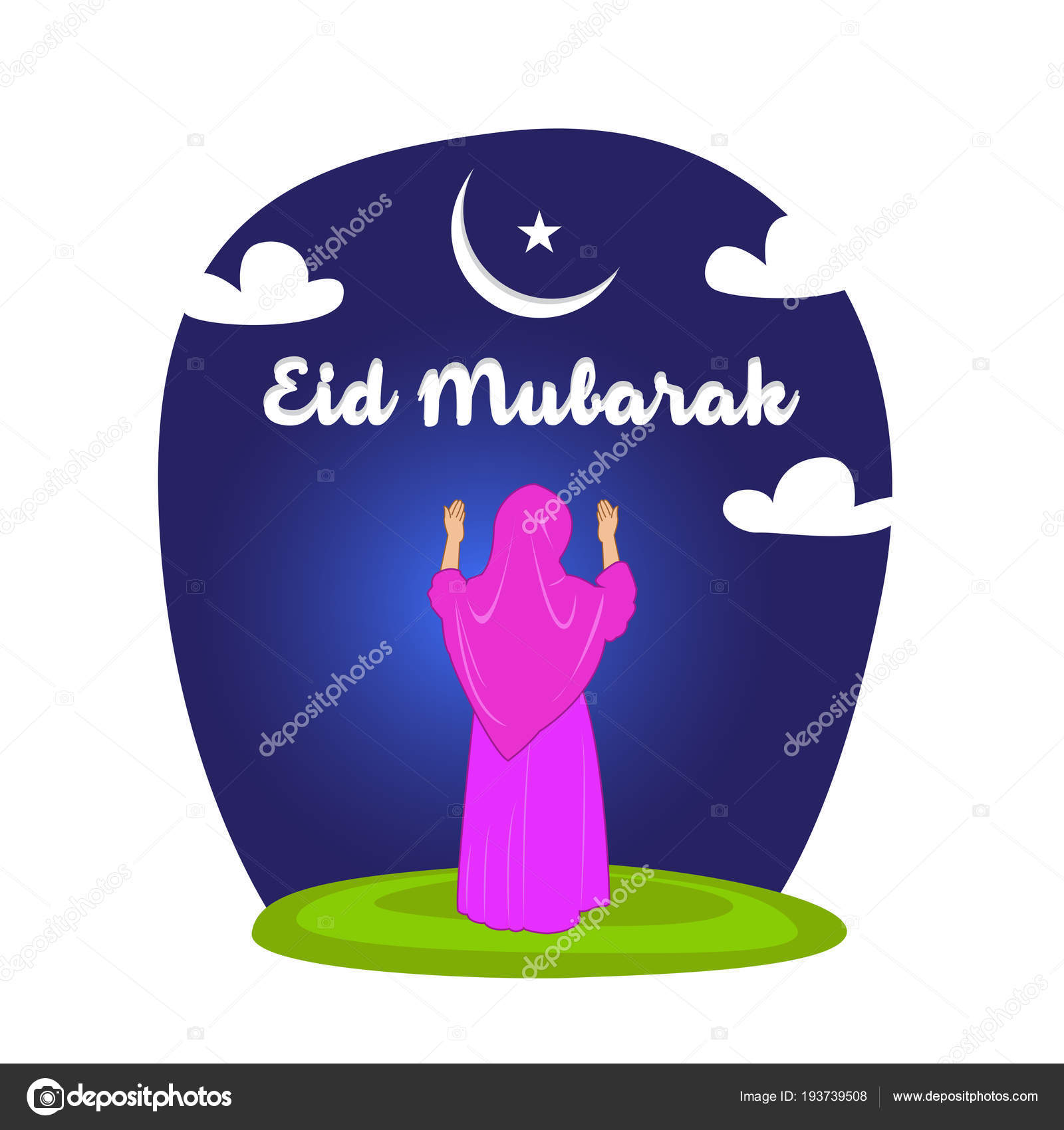 Poster Eid Mubarak Praying Woman Raising Hands Looking Moon Star