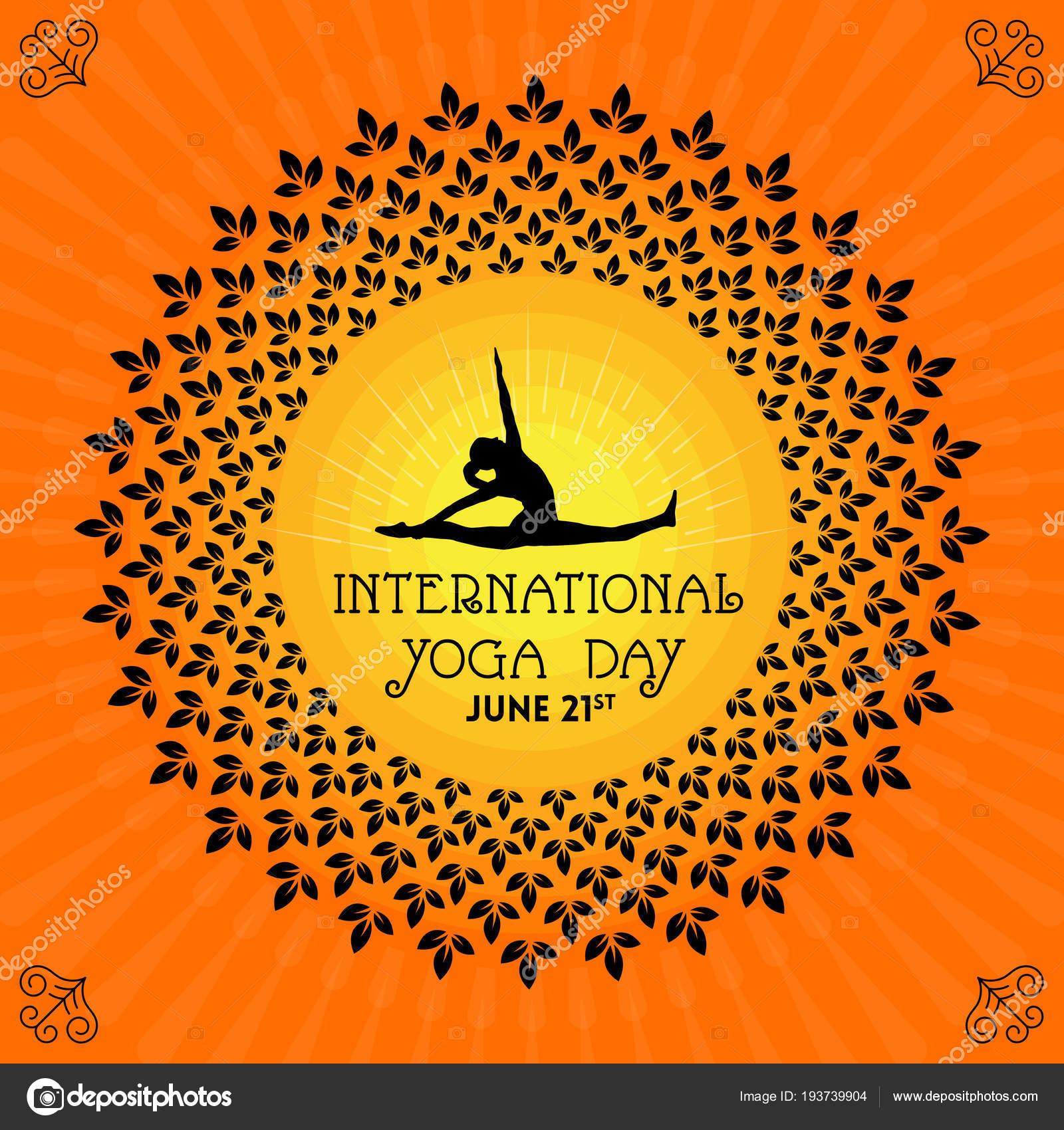 International Yoga Day Banner Floral Circle Female Silhouette Sunny Background Stock Vector C Satheeshsankaran 193739904