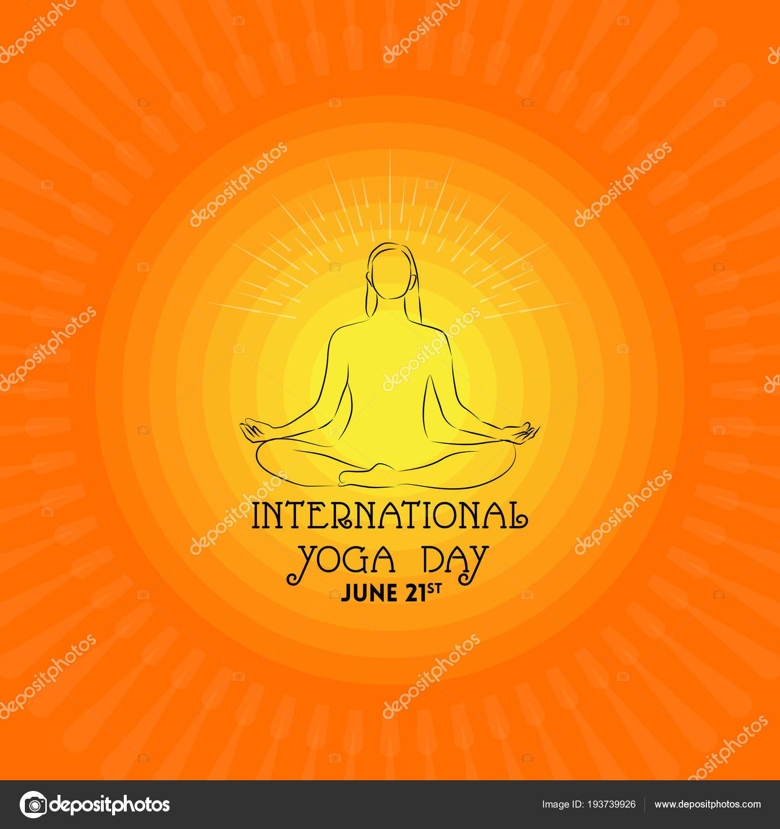 International Yoga Day Banner Female Silhouette Sunny Background Stock Vector C Satheeshsankaran 193739926