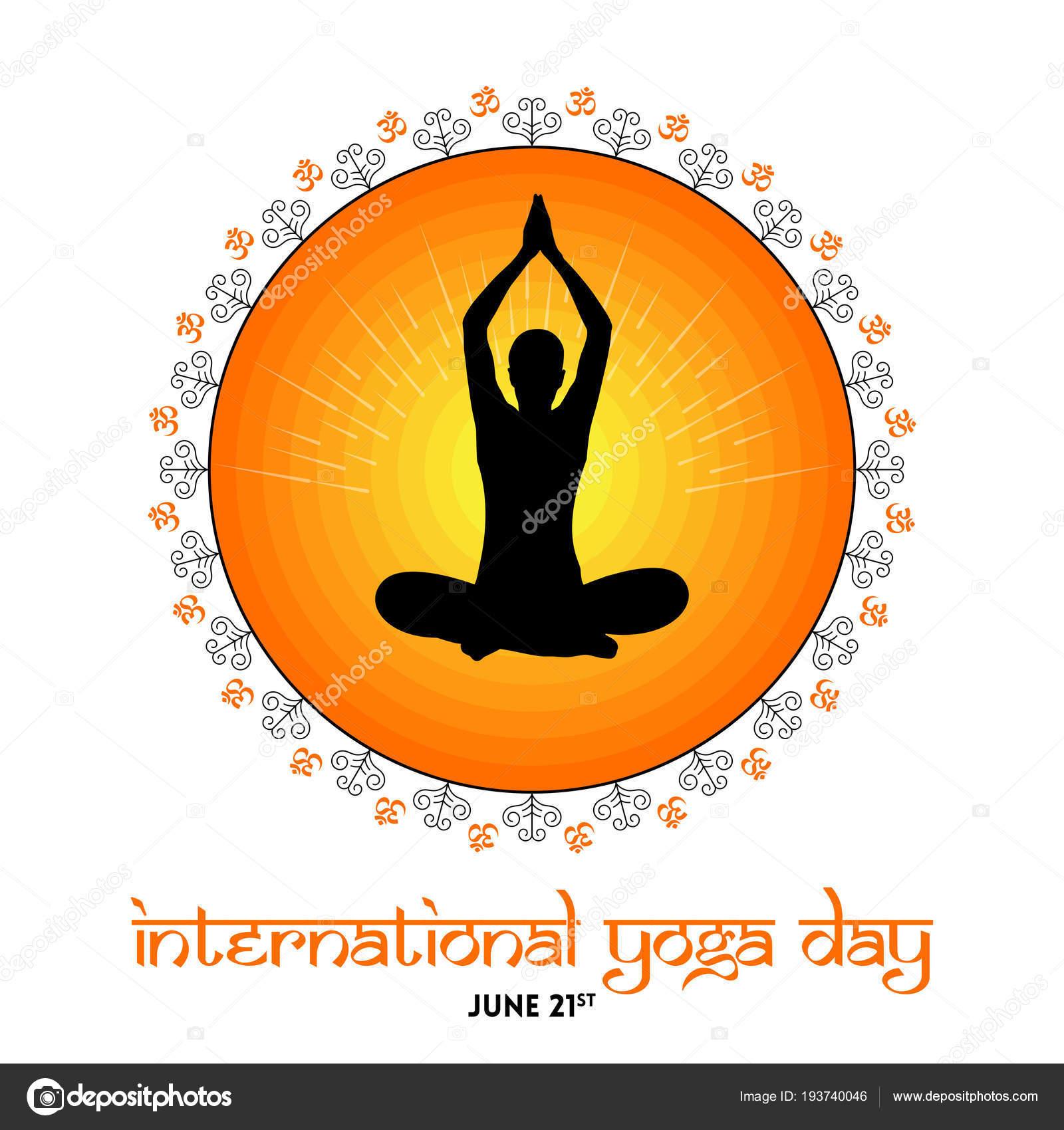International Yoga Day Poster Human Silhouette Praying Hands Orange Circle Stock Vector C Satheeshsankaran 193740046