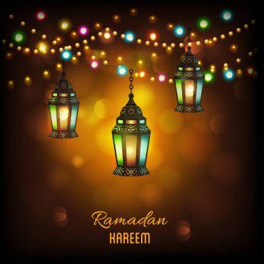 Hanging illuminated intricate Arabic Lamp with on shiny abstract  night background for Ramadan Kareem.