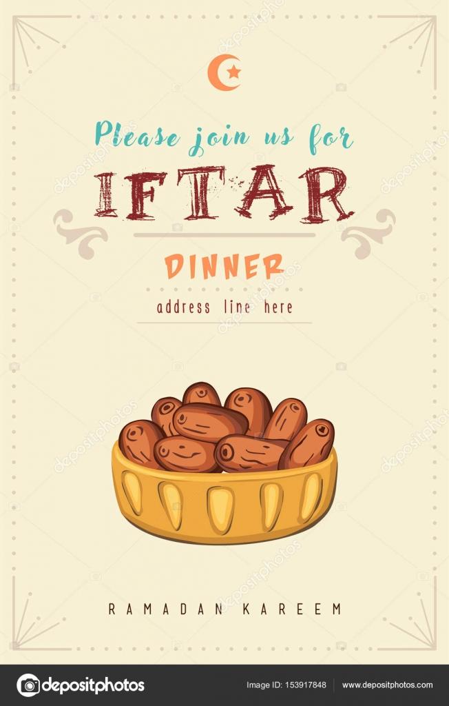 Ramadan Kareem Iftar Party Invitation Card Stock Vector