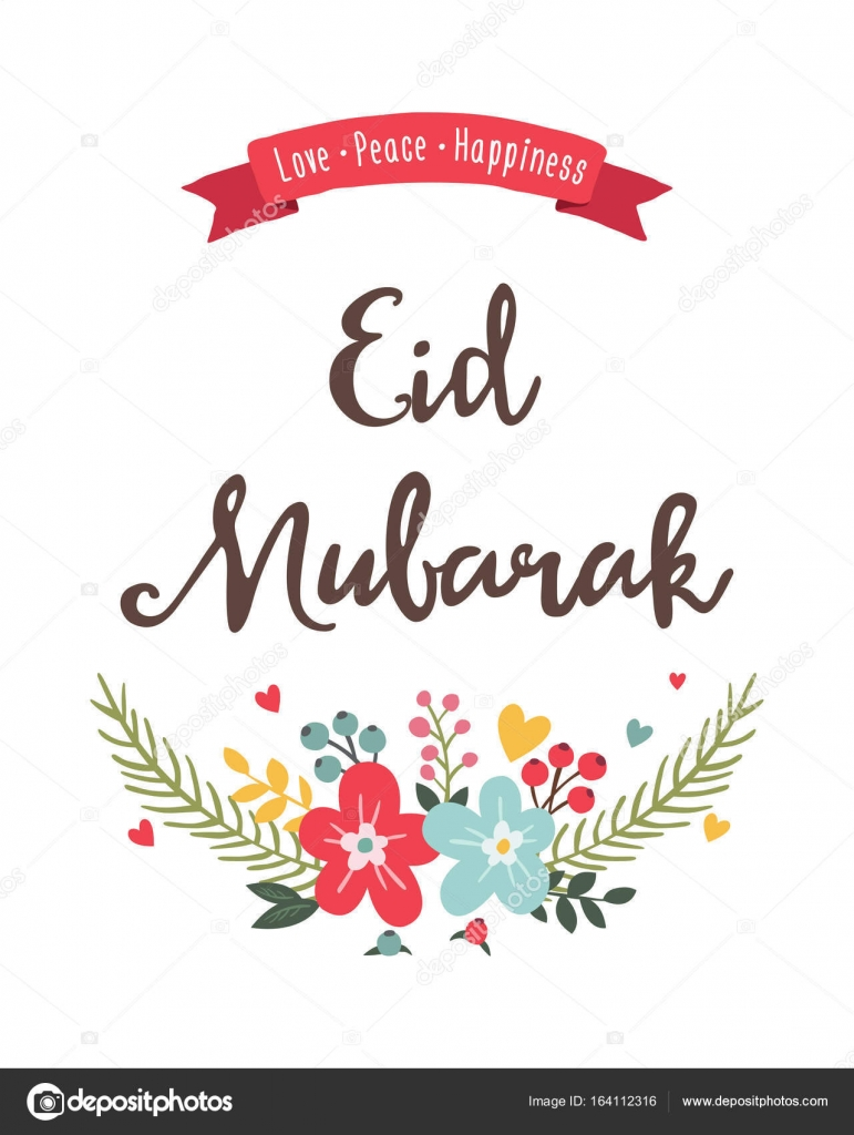 Eid mubarak greeting card stock vector ekler 164112316 colorful vector illustration of eid mubarak greeting card with text and flowers vector by ekler m4hsunfo