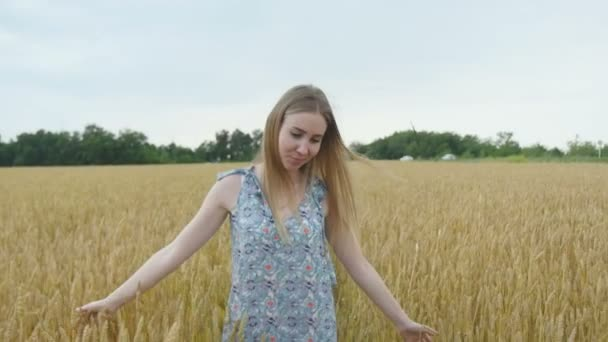 Beautiful Woman Walking Through Wheat Field