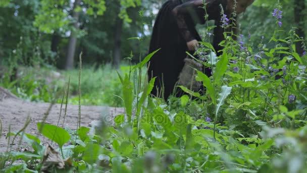Kleine Hexe geht durch den Wald