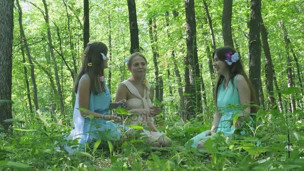 Nymphen reden im Wald