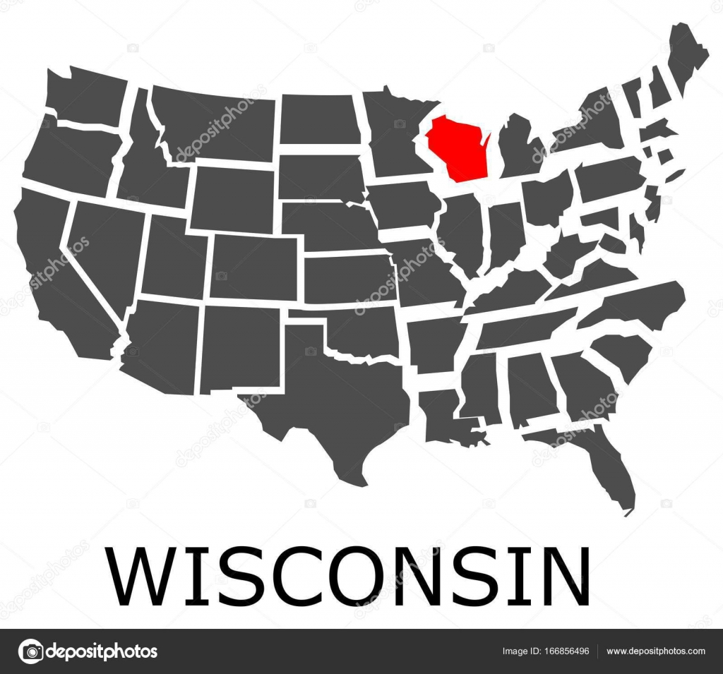 State of Wisconsin on map of USA Stock Vector hamikus 166856496