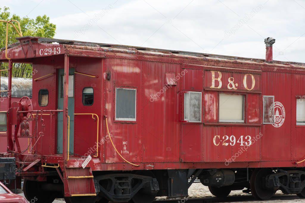 BALITMORE, MD - APRIL 15: B O Number C-2943 Caboose Baltimore Ohio Railroad on April 15, 2017