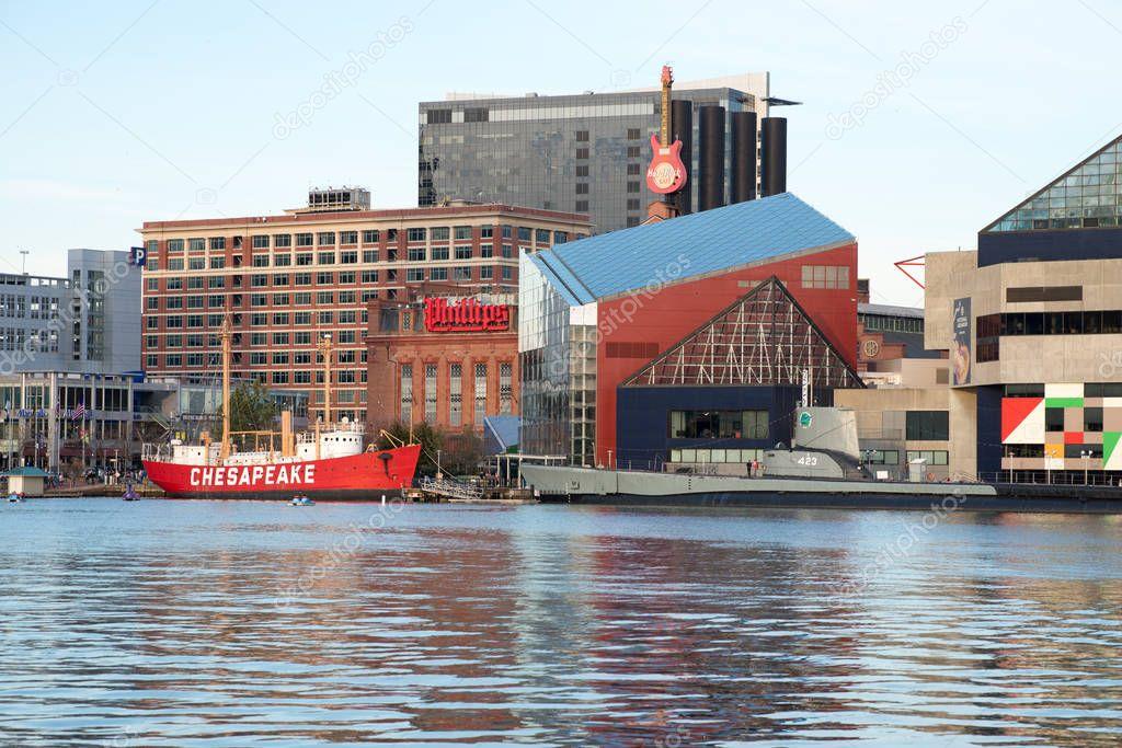 BALTIMORE, MARYLAND - FEBRUARY 18: The Inner Harbor in Baltimore, Maryland, USA on February 18, 2017