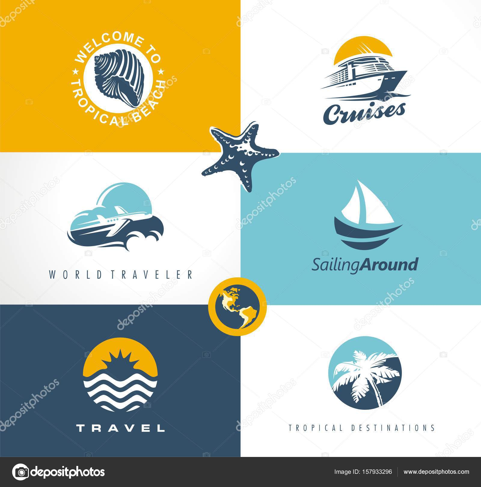 travel vacation tour logo designs collection creative set of