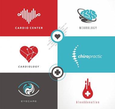 Medicine logo design ideas. Cardiology, neurology, eye care, blood donation and chiropractic symbols and icons set. Heart Logo.