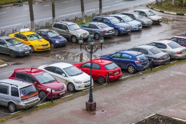PUSHKINO, RUSSIA, on November 20, 2017. Cars stand on the parking in the autumn morning