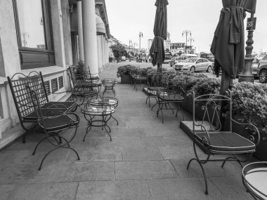 Trieste, Italy, August 7, 2019. Picturesque street cafe on the seafront