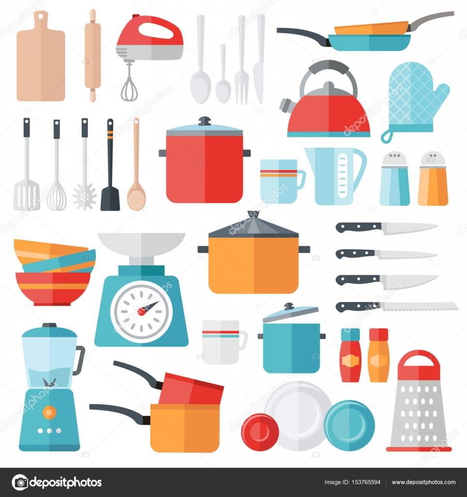 Icone della cucina - Design piatto — Vettoriali Stock © annafrajtova ...