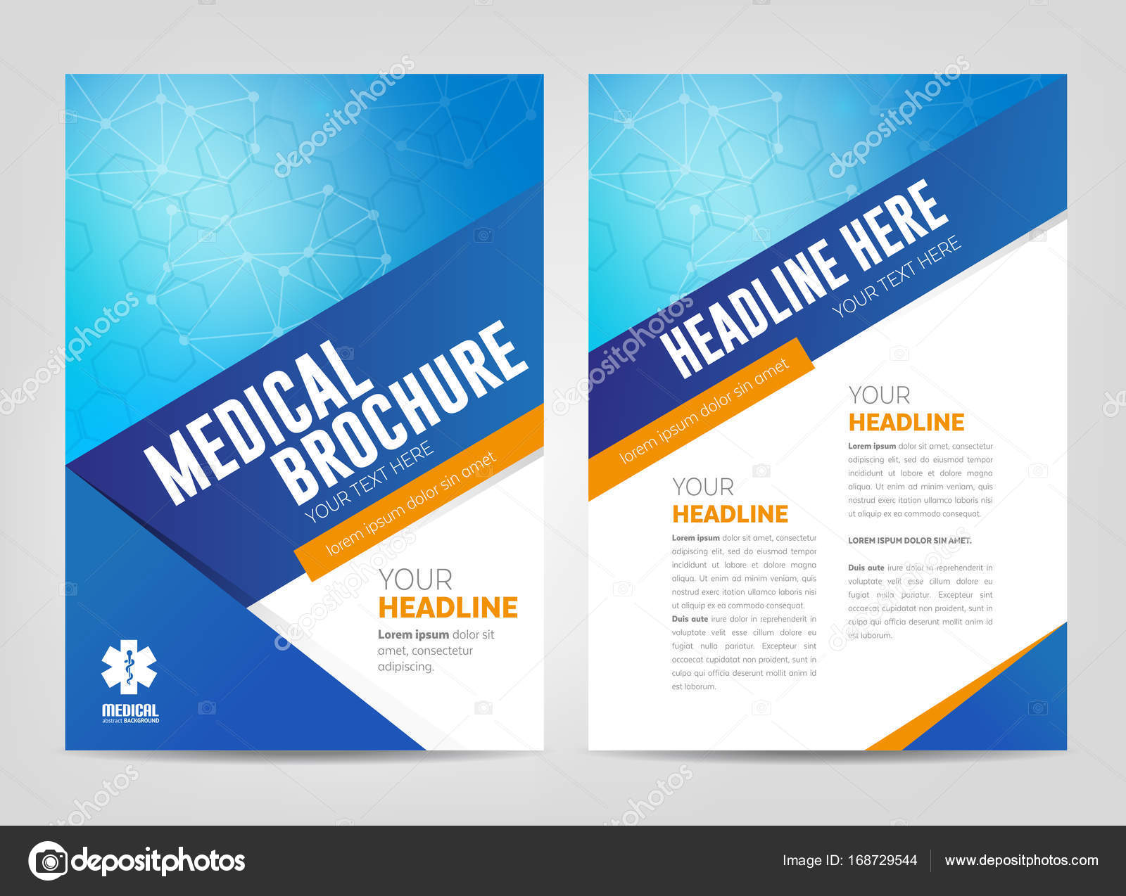 medical brochure front page and inside page stock vector
