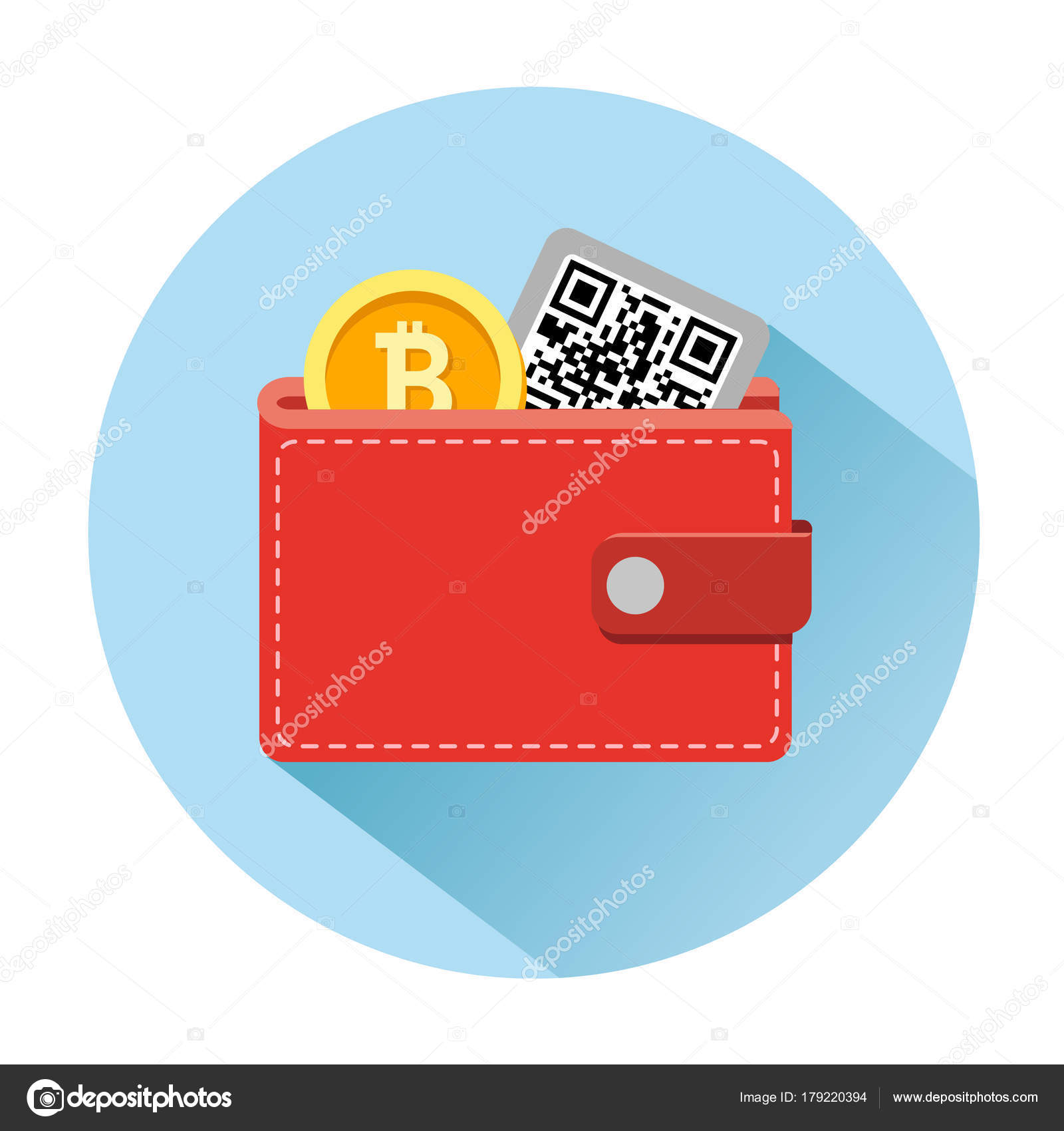 Bitcoin Wallet Icon With Cryptocurrency Coins Stock Vector
