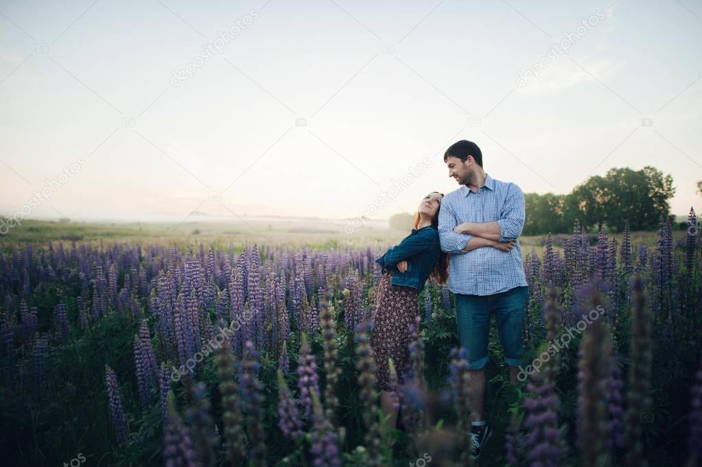 lovely couple in purple flowers
