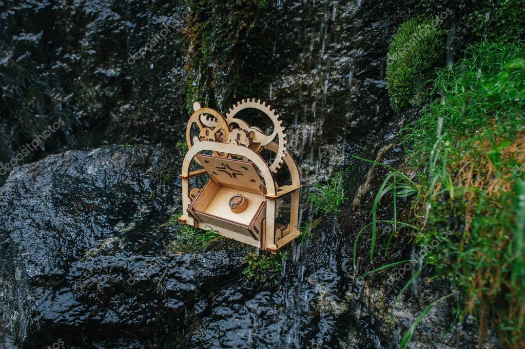 handmade wooden trunk on wet stone