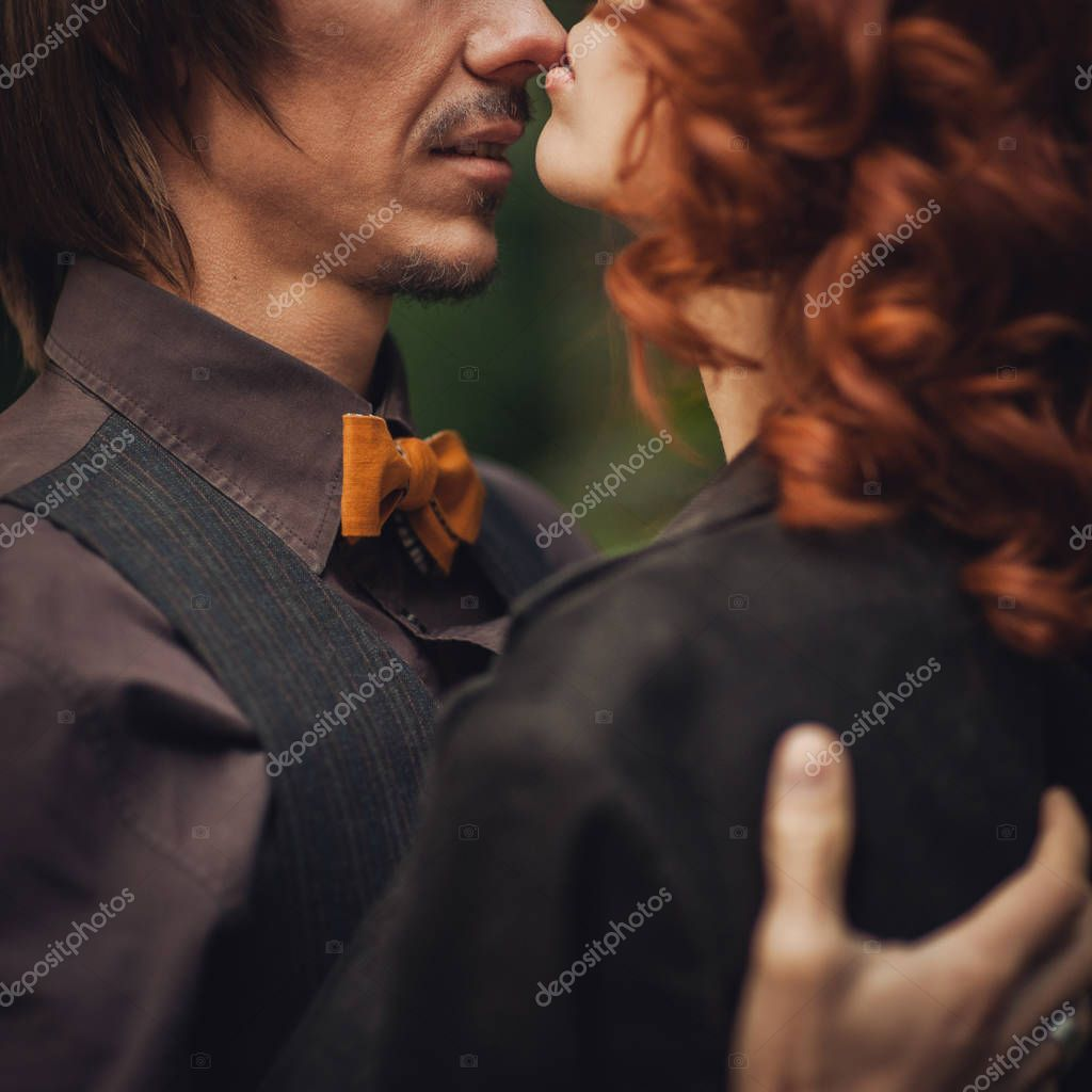 romantic couple kissing