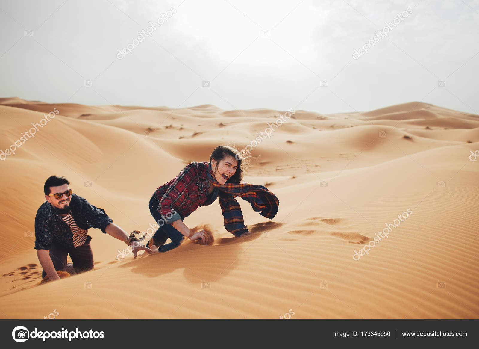 Image of: Desert Sahara Couple Of Travelers In Desert Sahara Stock Image Depositphotos Couple Of Travelers In Desert Sahara Stock Photo Ladanivskyyo
