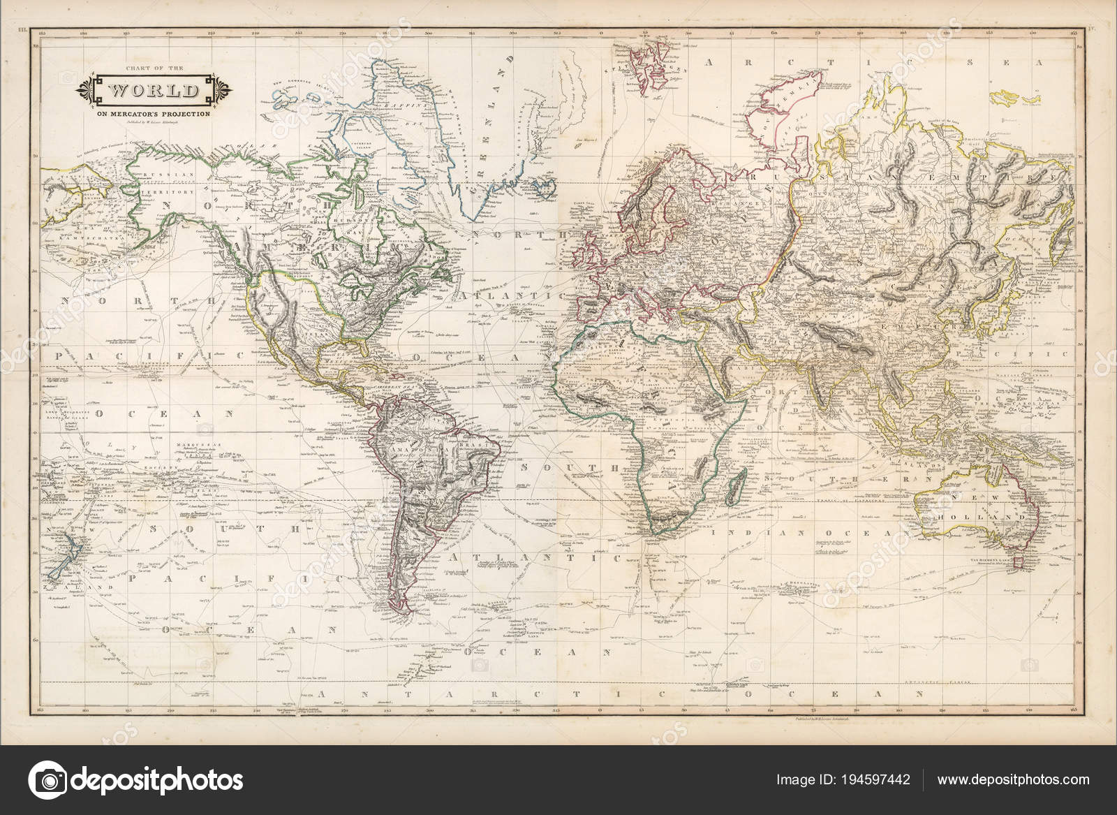 vintage world map continents islands stock photo