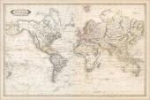 Fotografie Mapa světa Vintage s kontinenty a ostrovy