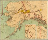Vintage gold and coal fields on map of Alaska