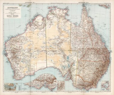 commonwealth of Australia map with city signs
