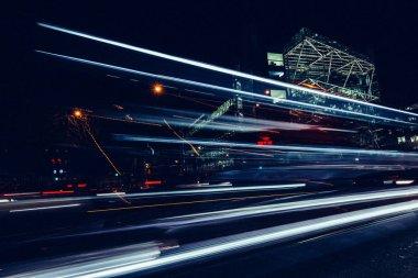 City light trails of car traffic