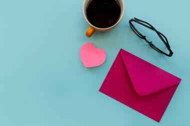 Love letter in pink envelope