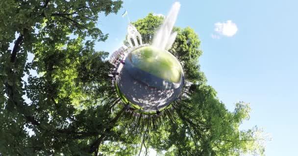 tiny planet Fountain in the center of Kharkov Ukraine